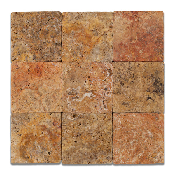 4 X 4 Scabos Travertine Field Tile Tumbled