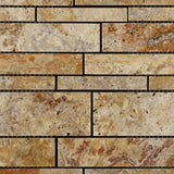 Scabos Travertine Honed Random Strip Mosaic Tile - American Tile Depot - Commercial and Residential (Interior & Exterior), Indoor, Outdoor, Shower, Backsplash, Bathroom, Kitchen, Deck & Patio, Decorative, Floor, Wall, Ceiling, Powder Room - 2
