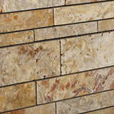 Scabos Travertine Honed Random Strip Mosaic Tile - American Tile Depot - Commercial and Residential (Interior & Exterior), Indoor, Outdoor, Shower, Backsplash, Bathroom, Kitchen, Deck & Patio, Decorative, Floor, Wall, Ceiling, Powder Room - 3