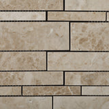 Cappuccino Marble Polished Random Strip Mosaic Tile - American Tile Depot - Commercial and Residential (Interior & Exterior), Indoor, Outdoor, Shower, Backsplash, Bathroom, Kitchen, Deck & Patio, Decorative, Floor, Wall, Ceiling, Powder Room - 2