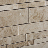 Cappuccino Marble Polished Random Strip Mosaic Tile - American Tile Depot - Commercial and Residential (Interior & Exterior), Indoor, Outdoor, Shower, Backsplash, Bathroom, Kitchen, Deck & Patio, Decorative, Floor, Wall, Ceiling, Powder Room - 3