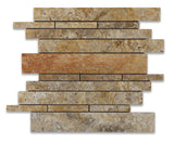 Scabos Travertine Honed Random Strip Mosaic Tile - American Tile Depot - Commercial and Residential (Interior & Exterior), Indoor, Outdoor, Shower, Backsplash, Bathroom, Kitchen, Deck & Patio, Decorative, Floor, Wall, Ceiling, Powder Room - 1