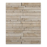 Ivory Travertine Honed Random Strip Mosaic Tile - American Tile Depot - Commercial and Residential (Interior & Exterior), Indoor, Outdoor, Shower, Backsplash, Bathroom, Kitchen, Deck & Patio, Decorative, Floor, Wall, Ceiling, Powder Room - 4