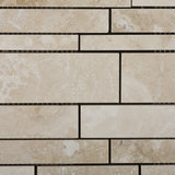 Ivory Travertine Honed Random Strip Mosaic Tile - American Tile Depot - Commercial and Residential (Interior & Exterior), Indoor, Outdoor, Shower, Backsplash, Bathroom, Kitchen, Deck & Patio, Decorative, Floor, Wall, Ceiling, Powder Room - 2