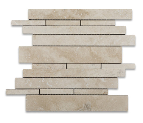 Ivory Travertine Honed Random Strip Mosaic Tile - American Tile Depot - Commercial and Residential (Interior & Exterior), Indoor, Outdoor, Shower, Backsplash, Bathroom, Kitchen, Deck & Patio, Decorative, Floor, Wall, Ceiling, Powder Room - 1