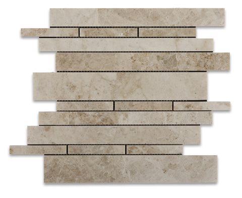 Cappuccino Marble Polished Random Strip Mosaic Tile - American Tile Depot - Commercial and Residential (Interior & Exterior), Indoor, Outdoor, Shower, Backsplash, Bathroom, Kitchen, Deck & Patio, Decorative, Floor, Wall, Ceiling, Powder Room - 1