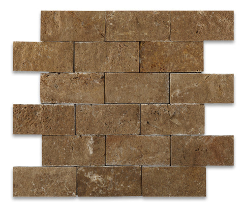 2 X 4 Noce Travertine Split-Faced Brick Mosaic Tile - American Tile Depot - Shower, Backsplash, Bathroom, Kitchen, Deck & Patio, Decorative, Floor, Wall, Ceiling, Powder Room, Indoor, Outdoor, Commercial, Residential, Interior, Exterior