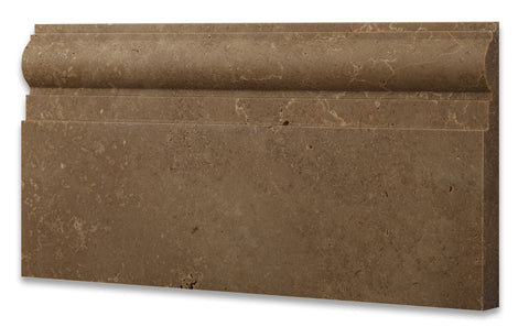 Noce Travertine Honed 6 X 12 Baseboard Trim Molding - American Tile Depot - Commercial and Residential (Interior & Exterior), Indoor, Outdoor, Shower, Backsplash, Bathroom, Kitchen, Deck & Patio, Decorative, Floor, Wall, Ceiling, Powder Room - 1