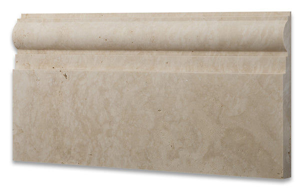 Ivory Travertine 6 X 12 Baseboard Trim Molding Honed