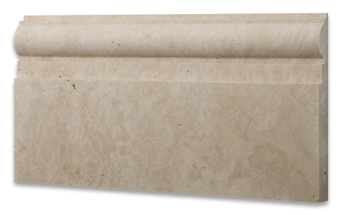 Ivory Travertine Honed 6 X 12 Baseboard Trim Molding - American Tile Depot - Commercial and Residential (Interior & Exterior), Indoor, Outdoor, Shower, Backsplash, Bathroom, Kitchen, Deck & Patio, Decorative, Floor, Wall, Ceiling, Powder Room - 1