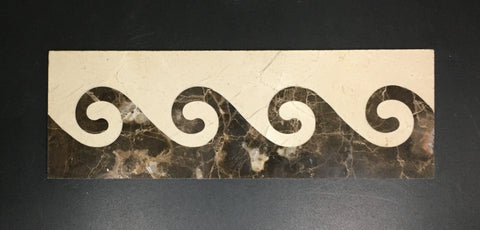 Wavy 4 X 12 Marble Waterjet Border - Polished