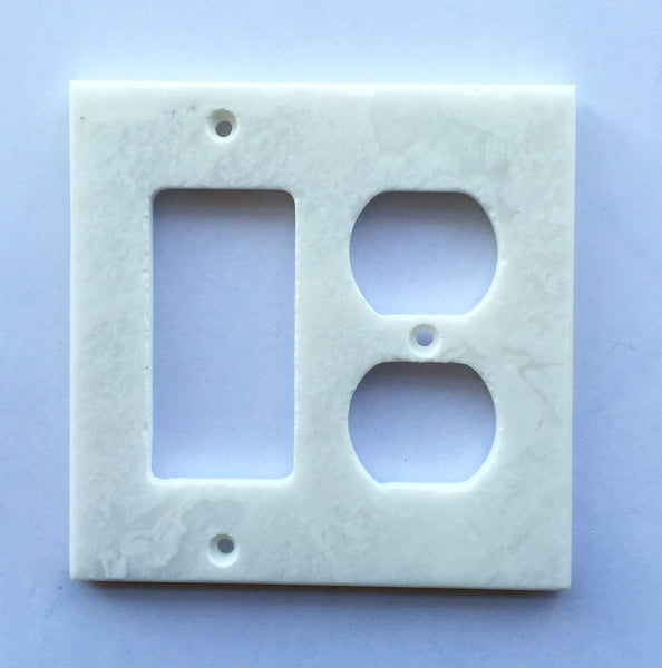 White Marble Meram Blanc Rocker Duplex Switch Wall Plate