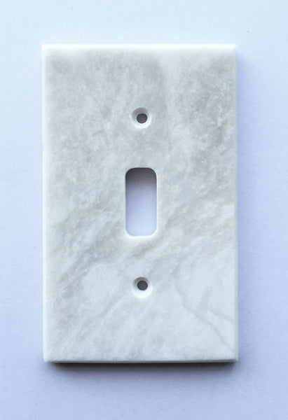 White Marble Meram Blanc Single Toggle Switch Wall Plate