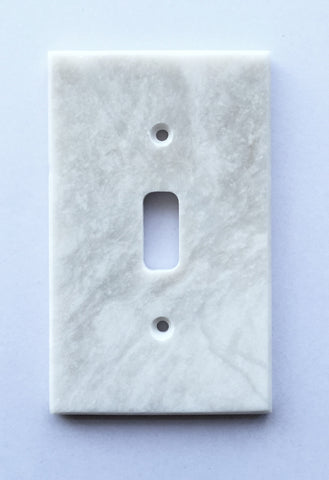 White Marble (Meram Blanc) Single Toggle Switch Wall Plate / Switch Plate / Cover - Polished - American Tile Depot - Commercial and Residential (Interior & Exterior), Indoor, Outdoor, Shower, Backsplash, Bathroom, Kitchen, Deck & Patio, Decorative, Floor, Wall, Ceiling, Powder Room - 1