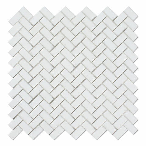Thassos White Marble Honed Mini Herringbone Mosaic Tile - American Tile Depot - Commercial and Residential (Interior & Exterior), Indoor, Outdoor, Shower, Backsplash, Bathroom, Kitchen, Deck & Patio, Decorative, Floor, Wall, Ceiling, Powder Room