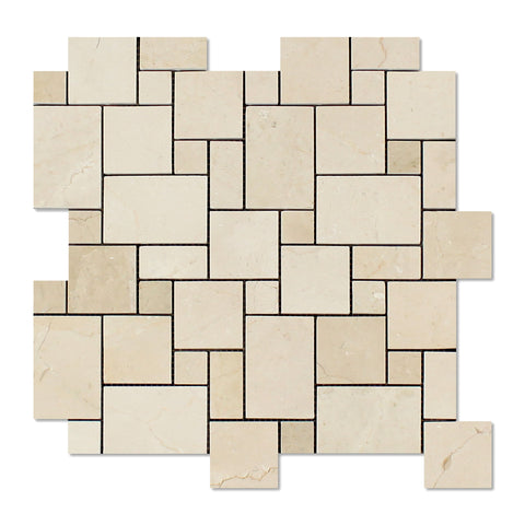 Crema Marfil Marble Polished Mini Versailles Mosaic Tile - American Tile Depot - Commercial and Residential (Interior & Exterior), Indoor, Outdoor, Shower, Backsplash, Bathroom, Kitchen, Deck & Patio, Decorative, Floor, Wall, Ceiling, Powder Room - 1