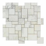 Calacatta Gold Marble Polished Mini Versailles Mosaic Tile - American Tile Depot - Commercial and Residential (Interior & Exterior), Indoor, Outdoor, Shower, Backsplash, Bathroom, Kitchen, Deck & Patio, Decorative, Floor, Wall, Ceiling, Powder Room - 1