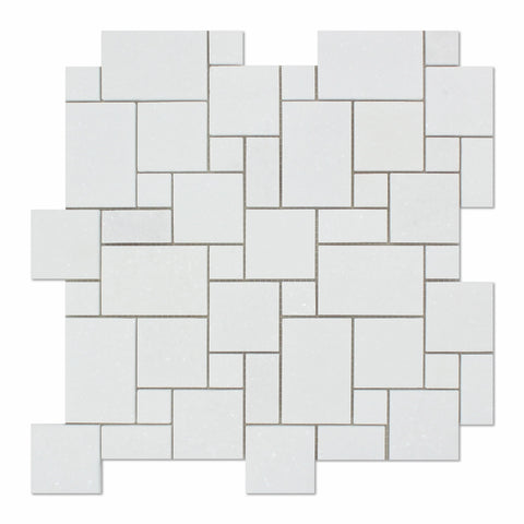 Thassos White Marble Honed Mini Versailles Mosaic Tile - American Tile Depot - Commercial and Residential (Interior & Exterior), Indoor, Outdoor, Shower, Backsplash, Bathroom, Kitchen, Deck & Patio, Decorative, Floor, Wall, Ceiling, Powder Room