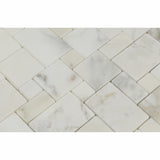 Calacatta Gold Marble Polished Mini Versailles Mosaic Tile - American Tile Depot - Commercial and Residential (Interior & Exterior), Indoor, Outdoor, Shower, Backsplash, Bathroom, Kitchen, Deck & Patio, Decorative, Floor, Wall, Ceiling, Powder Room - 2