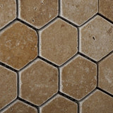 Noce Travertine 2'' Hexagon Mosaic Tile Tumbled- American Tile Depot