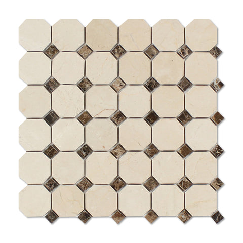 Crema Marfil Marble Polished Octagon Mosaic Tile w/ Emperador Dark Dots - American Tile Depot - Commercial and Residential (Interior & Exterior), Indoor, Outdoor, Shower, Backsplash, Bathroom, Kitchen, Deck & Patio, Decorative, Floor, Wall, Ceiling, Powder Room - 1
