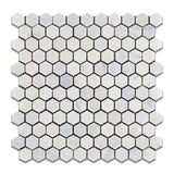 "Oriental White / Asian Statuary Marble Honed 1"" Mini Hexagon Mosaic Tile - American Tile Depot - Commercial and Residential (Interior & Exterior), Indoor, Outdoor, Shower, Backsplash, Bathroom, Kitchen, Deck & Patio, Decorative, Floor, Wall, Ceiling, Powder Room - 1"