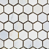"Oriental White / Asian Statuary Marble Honed 1"" Mini Hexagon Mosaic Tile - American Tile Depot - Commercial and Residential (Interior & Exterior), Indoor, Outdoor, Shower, Backsplash, Bathroom, Kitchen, Deck & Patio, Decorative, Floor, Wall, Ceiling, Powder Room - 2"