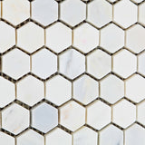 "Oriental White / Asian Statuary Marble Honed 1"" Mini Hexagon Mosaic Tile - American Tile Depot - Commercial and Residential (Interior & Exterior), Indoor, Outdoor, Shower, Backsplash, Bathroom, Kitchen, Deck & Patio, Decorative, Floor, Wall, Ceiling, Powder Room - 3"
