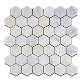 "Oriental White / Asian Statuary Marble Polished 2"" Hexagon Mosaic Tile - American Tile Depot - Commercial and Residential (Interior & Exterior), Indoor, Outdoor, Shower, Backsplash, Bathroom, Kitchen, Deck & Patio, Decorative, Floor, Wall, Ceiling, Powder Room - 1"