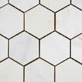 "Oriental White / Asian Statuary Marble Polished 2"" Hexagon Mosaic Tile - American Tile Depot - Commercial and Residential (Interior & Exterior), Indoor, Outdoor, Shower, Backsplash, Bathroom, Kitchen, Deck & Patio, Decorative, Floor, Wall, Ceiling, Powder Room - 2"