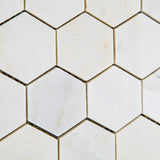 "Oriental White / Asian Statuary Marble Polished 2"" Hexagon Mosaic Tile - American Tile Depot - Commercial and Residential (Interior & Exterior), Indoor, Outdoor, Shower, Backsplash, Bathroom, Kitchen, Deck & Patio, Decorative, Floor, Wall, Ceiling, Powder Room - 3"