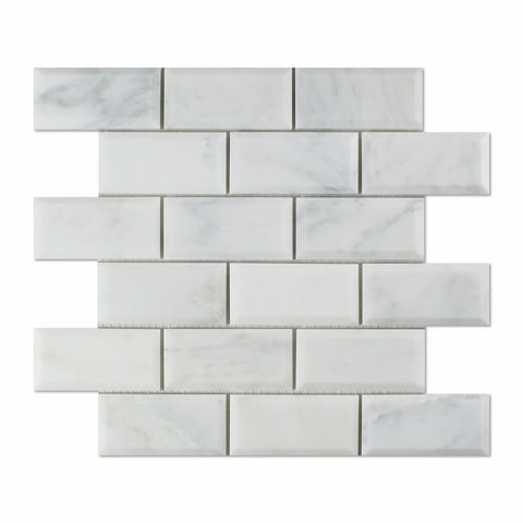 2 X 4 Oriental White / Asian Statuary Marble Polished & Beveled Brick Mosaic Tile - American Tile Depot - Shower, Backsplash, Bathroom, Kitchen, Deck & Patio, Decorative, Floor, Wall, Ceiling, Powder Room, Indoor, Outdoor, Commercial, Residential, Interior, Exterior
