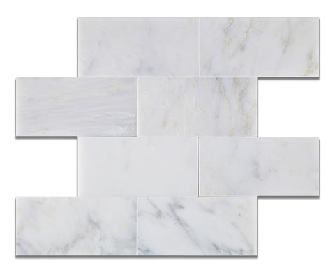 3 X 6 Oriental White / Asian Statuary Marble Honed Subway Brick Field Tile - American Tile Depot - Commercial and Residential (Interior & Exterior), Indoor, Outdoor, Shower, Backsplash, Bathroom, Kitchen, Deck & Patio, Decorative, Floor, Wall, Ceiling, Powder Room - 1