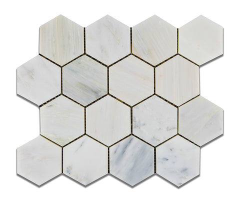 "Oriental White / Asian Statuary Marble Polished 3"" Hexagon Mosaic Tile - American Tile Depot - Commercial and Residential (Interior & Exterior), Indoor, Outdoor, Shower, Backsplash, Bathroom, Kitchen, Deck & Patio, Decorative, Floor, Wall, Ceiling, Powder Room - 1"