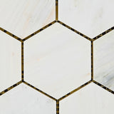 "Oriental White / Asian Statuary Marble Honed 3"" Hexagon Mosaic Tile - American Tile Depot - Commercial and Residential (Interior & Exterior), Indoor, Outdoor, Shower, Backsplash, Bathroom, Kitchen, Deck & Patio, Decorative, Floor, Wall, Ceiling, Powder Room - 2"