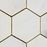 "Oriental White / Asian Statuary Marble Honed 3"" Hexagon Mosaic Tile - American Tile Depot - Commercial and Residential (Interior & Exterior), Indoor, Outdoor, Shower, Backsplash, Bathroom, Kitchen, Deck & Patio, Decorative, Floor, Wall, Ceiling, Powder Room - 3"