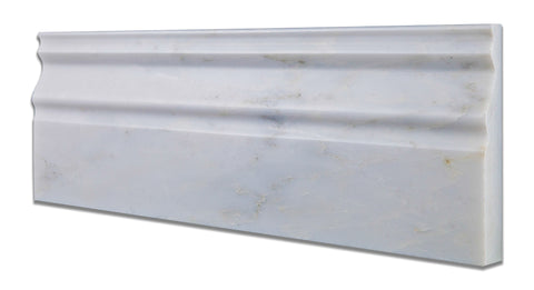 Oriental White / Asian Statuary Marble Honed Baseboard Trim Molding - American Tile Depot - Commercial and Residential (Interior & Exterior), Indoor, Outdoor, Shower, Backsplash, Bathroom, Kitchen, Deck & Patio, Decorative, Floor, Wall, Ceiling, Powder Room - 1