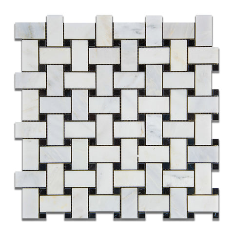 Oriental White / Asian Statuary Marble Honed Basketweave Mosaic Tile w/ Black Dots - American Tile Depot - Commercial and Residential (Interior & Exterior), Indoor, Outdoor, Shower, Backsplash, Bathroom, Kitchen, Deck & Patio, Decorative, Floor, Wall, Ceiling, Powder Room - 1