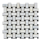 Oriental White / Asian Statuary Marble Polished Basketweave Mosaic Tile w/ Black Dots - American Tile Depot - Commercial and Residential (Interior & Exterior), Indoor, Outdoor, Shower, Backsplash, Bathroom, Kitchen, Deck & Patio, Decorative, Floor, Wall, Ceiling, Powder Room - 1