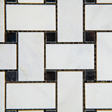 Oriental White / Asian Statuary Marble Honed Basketweave Mosaic Tile w/ Black Dots - American Tile Depot - Commercial and Residential (Interior & Exterior), Indoor, Outdoor, Shower, Backsplash, Bathroom, Kitchen, Deck & Patio, Decorative, Floor, Wall, Ceiling, Powder Room - 3