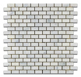 Oriental White / Asian Statuary Marble Honed Baby Brick Mosaic Tile - American Tile Depot - Commercial and Residential (Interior & Exterior), Indoor, Outdoor, Shower, Backsplash, Bathroom, Kitchen, Deck & Patio, Decorative, Floor, Wall, Ceiling, Powder Room - 1