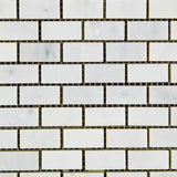 Oriental White / Asian Statuary Marble Honed Baby Brick Mosaic Tile - American Tile Depot - Commercial and Residential (Interior & Exterior), Indoor, Outdoor, Shower, Backsplash, Bathroom, Kitchen, Deck & Patio, Decorative, Floor, Wall, Ceiling, Powder Room - 2