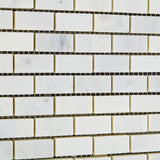 Oriental White / Asian Statuary Marble Honed Baby Brick Mosaic Tile - American Tile Depot - Commercial and Residential (Interior & Exterior), Indoor, Outdoor, Shower, Backsplash, Bathroom, Kitchen, Deck & Patio, Decorative, Floor, Wall, Ceiling, Powder Room - 3