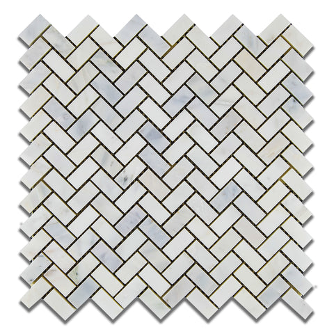 Oriental White / Asian Statuary Marble Polished Mini Herringbone Mosaic Tile - American Tile Depot - Commercial and Residential (Interior & Exterior), Indoor, Outdoor, Shower, Backsplash, Bathroom, Kitchen, Deck & Patio, Decorative, Floor, Wall, Ceiling, Powder Room - 1