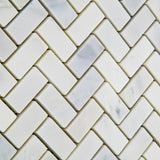 Oriental White / Asian Statuary Marble Polished Mini Herringbone Mosaic Tile - American Tile Depot - Commercial and Residential (Interior & Exterior), Indoor, Outdoor, Shower, Backsplash, Bathroom, Kitchen, Deck & Patio, Decorative, Floor, Wall, Ceiling, Powder Room - 3