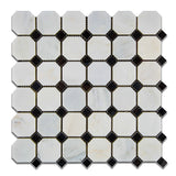 Oriental White / Asian Statuary Marble Polished Octagon Mosaic Tile w/ Black Dots - American Tile Depot - Commercial and Residential (Interior & Exterior), Indoor, Outdoor, Shower, Backsplash, Bathroom, Kitchen, Deck & Patio, Decorative, Floor, Wall, Ceiling, Powder Room - 1