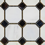 Oriental White / Asian Statuary Marble Polished Octagon Mosaic Tile w/ Black Dots - American Tile Depot - Commercial and Residential (Interior & Exterior), Indoor, Outdoor, Shower, Backsplash, Bathroom, Kitchen, Deck & Patio, Decorative, Floor, Wall, Ceiling, Powder Room - 2