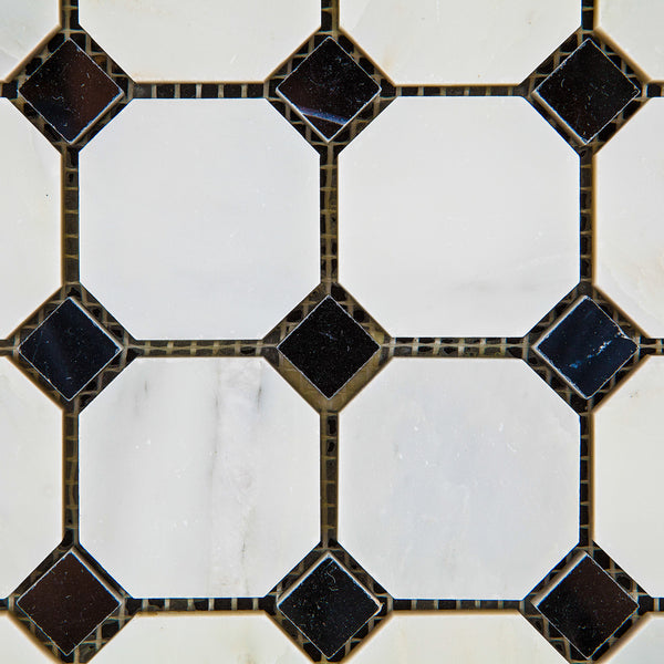 Oriental White Asian Statuary Marble Octagon Mosaic Tile