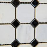 Oriental White / Asian Statuary Marble Honed Octagon Mosaic Tile w/ Black Dots - American Tile Depot - Commercial and Residential (Interior & Exterior), Indoor, Outdoor, Shower, Backsplash, Bathroom, Kitchen, Deck & Patio, Decorative, Floor, Wall, Ceiling, Powder Room - 3