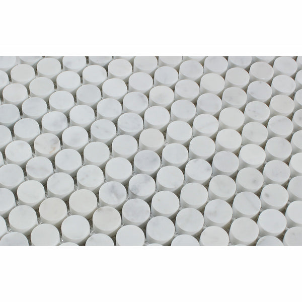 Carrara White Marble Penny Round Mosaic Tile Honed